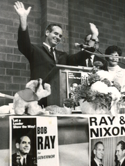 From 1968: Robert Ray, Republican candidate for governor, at a campaign rally in Adel.