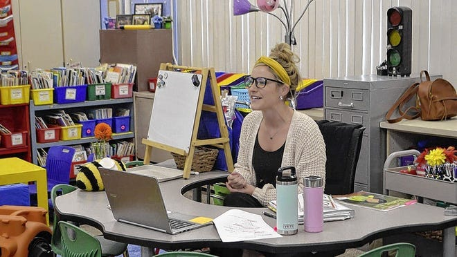 Cassie Mountain, a first-grade teacher at Jefferson Elementary School, provides lessons Aug. 25 from her classroom through Gahanna's distance-learning model.