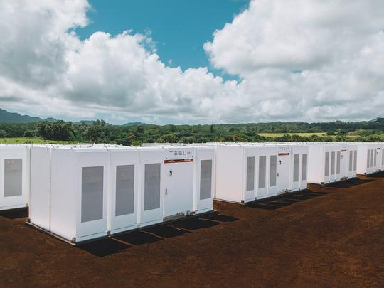 A Tesla Powerpack connected to solar panels on the Hawaiian island of Kauai.