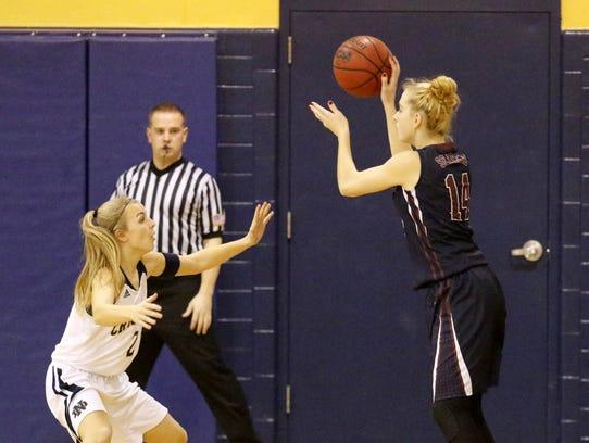 Amanda Pike passes the ball inside during the Watkins