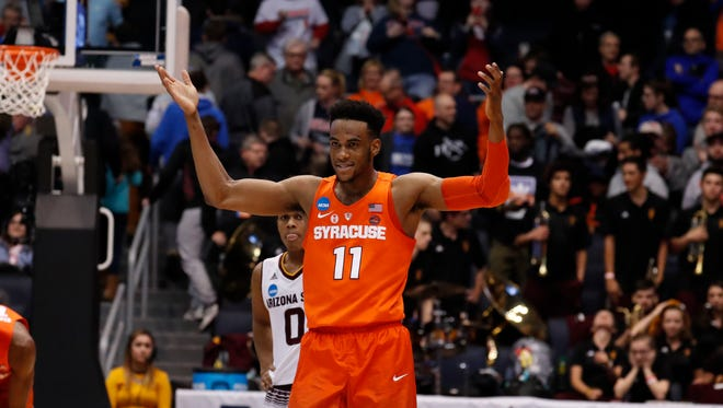 Mar 14, 2018; Dayton, OH, USA; Syracuse Orange forward Oshae Brissett (11) celebrates defeating Arizona State Sun Devils during the First Four of the 2018 NCAA Tournament at Dayton Arena. Mandatory Credit: Brian Spurlock -USA TODAY Sports