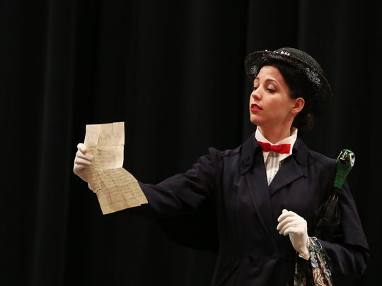 """Megan Smith as Mary Poppins rehearses scenes from the musical """"Mary Poppins"""" Wednesday, Dec. 30, 2015, at Central High School in Independence, Ore. The show, which runs Jan. 8-10, is a fundraiser for Pentacle Theatre."""