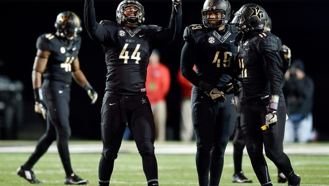 Vanderbilt Commodores defensive lineman Nehemiah Mitchell (44) reacts during the final moments of the second half against the Ole Miss Rebels at Vanderbilt University, Saturday, Nov. 19, 2016, in Nashville, Tenn.