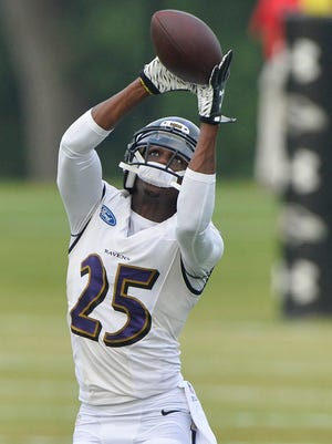 Baltimore Ravens cornerback Tray Walker during training camp in July of last year.
