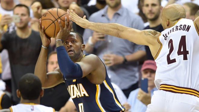 Apr 15, 2017; Cleveland, OH, USA; Cleveland Cavaliers forward Richard Jefferson (24) defends Indiana Pacers forward CJ Miles (0) on the final play in game one of the first round of the 2017 NBA Playoffs at Quicken Loans Arena. Mandatory Credit: David Richard-USA TODAY Sports