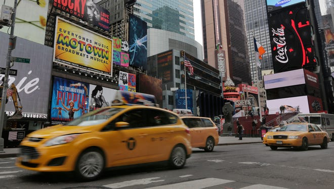 New York City taxis in Times Square.