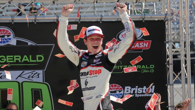 Erik Jones (20) celebrates after winning Xfinity Series race at Bristol Motor Speedway in April.
