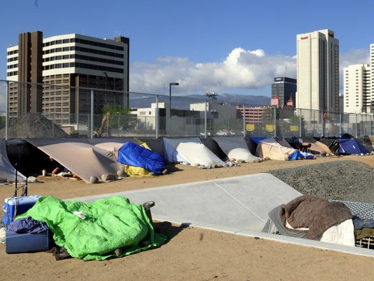 Homeless tent city.