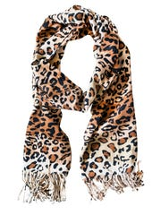 Warm scarf with leopard print on white background