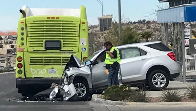 An SUV hit the back of a Sun Metro Brio bus Thursday afternoon. Three were sent to the hospital.