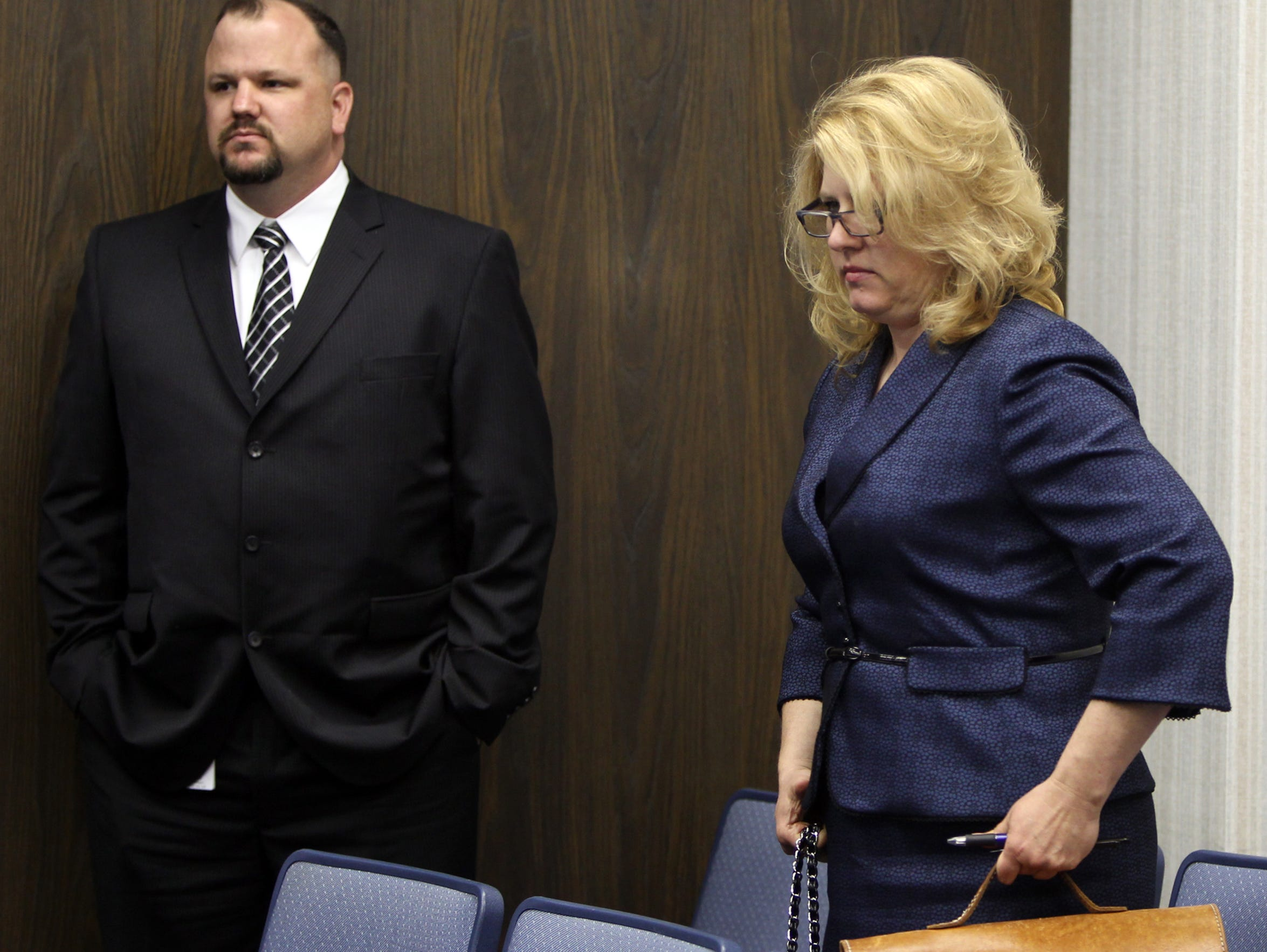 """Kentucky Innocence Project director Linda A. Smith, right, appears in court with James """"Jimmer"""" Dudley, an investigator for the Project. The two fought for DNA testing, which ultimately led to the release of William Virgil in 2015. Enquirer file"""