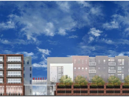 Sherman and Associates have proposed an apartment complex and a parking garage connected by a indoor farmers market, that would like like this rendering to fill the space at Fourth and Court.