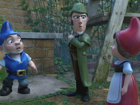 """Gnomeo (voiced by James McAvoy), Sherlock (Johnny Depp) and Juliet (Emily Blunt) get to the bottom of the case in """"Sherlock Gnomes."""""""
