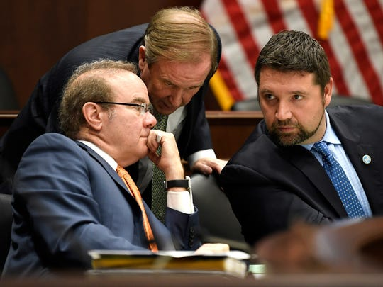 Rep. Martin Daniel, left, Chairman Mike Carter, center,