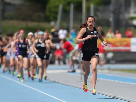 Linn-Mar's Stephanie Jenks wins the 1,500-meter run at the Class 4-A state track and field meet on May 24, 2014.