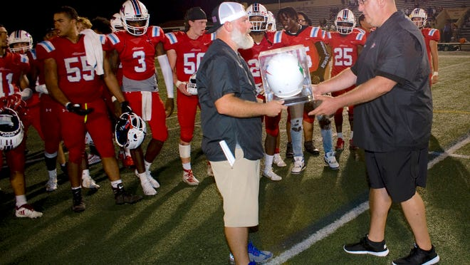Alliance athletic director Mike Schott, right, talked Tuesday about the Eastern Buckeye Conference's desire to expand.