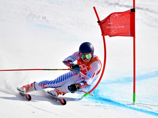 Ryan Cochran-Siegle (USA) competes in the men's giant slalom during the Pyeongchang 2018 Olympic Winter Games at Yongpyong Alpine Centre.