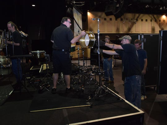 Crews set up the stage in the Mari Center at the Paragon Casino in Marksville for the KC & the Sunshine Band concert held last weekend.