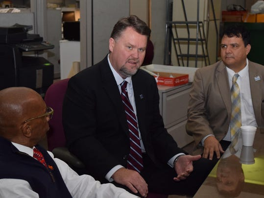 Louisiana Community Technical & College System president Monty Sullivan (center) talks to Town Talk editorial board Wednesday. With him are Leonard J. Ford (left), a member of The Town Talk editorial board and Jimmy Sawtelle, chancellor of Central Louisian
