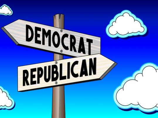 Singpost illustration, two arrows - democrat or republican