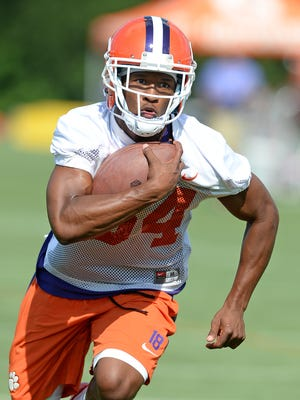 Clemson wide receiver Ray Ray McCloud (34) runs with the ball during practice on Aug. 3, 2016.