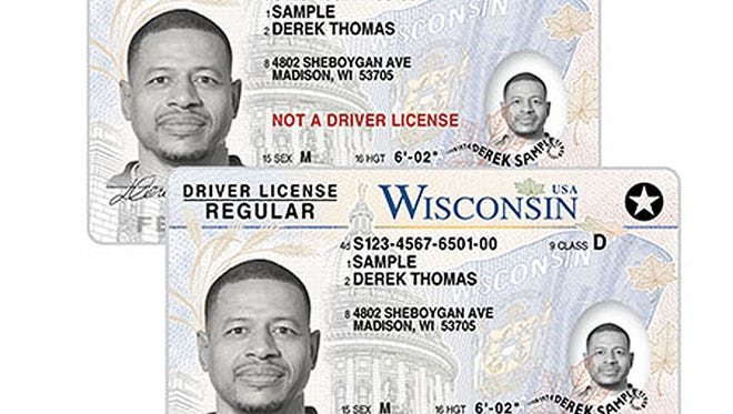 Wisconsin seniors can opt to trade in their driver's licenses (bottom) for a non-expiring identification card (top).