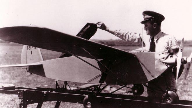 Then-Capt. George V. Holloman inspects a remotely piloted aircraft in 1937. Today's remotely piloted aircraft and the Airmen that support them are in existence because of research and development done by Holloman in the late 1930s.