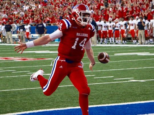 Louisiana Tech quarterback Ryan Higgins celebrates