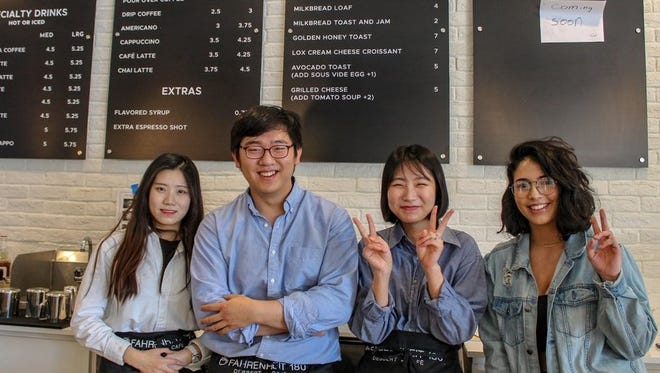 James Kim, co-owner of the new Fahrenheit 180 coffee and dessert shop at 2900 N. Mesa St., near UTEP in West El Paso, with baristas Songhee Yim, left, Ayeong Choi, and marketing specialist Daryen Antonetty, far right.