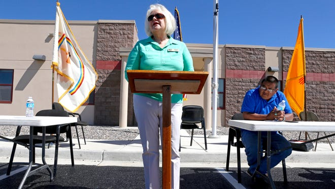 San Juan County Commissioner Margaret McDaniel, who was named the commission chairwoman earlier this week, speaks Aug. 5, 2015, during the grand opening for an administrative service center at the Navajo Nation police substation in Dzilth-Na-O-Dith-Hle.