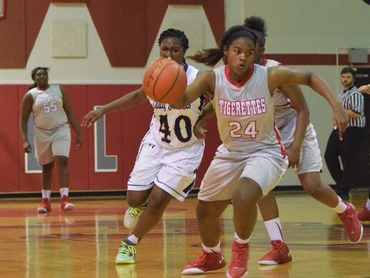 Winnfield's Kayla King (24, right) was selected as the District 3-3A MVP.