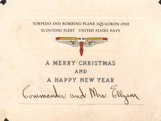 The Navy's first naval aviator, Theodore G. Ellyson, sent out this Christmas card with his wife while he was assigned to Torpedo and  Bombing Plane Squadron One.