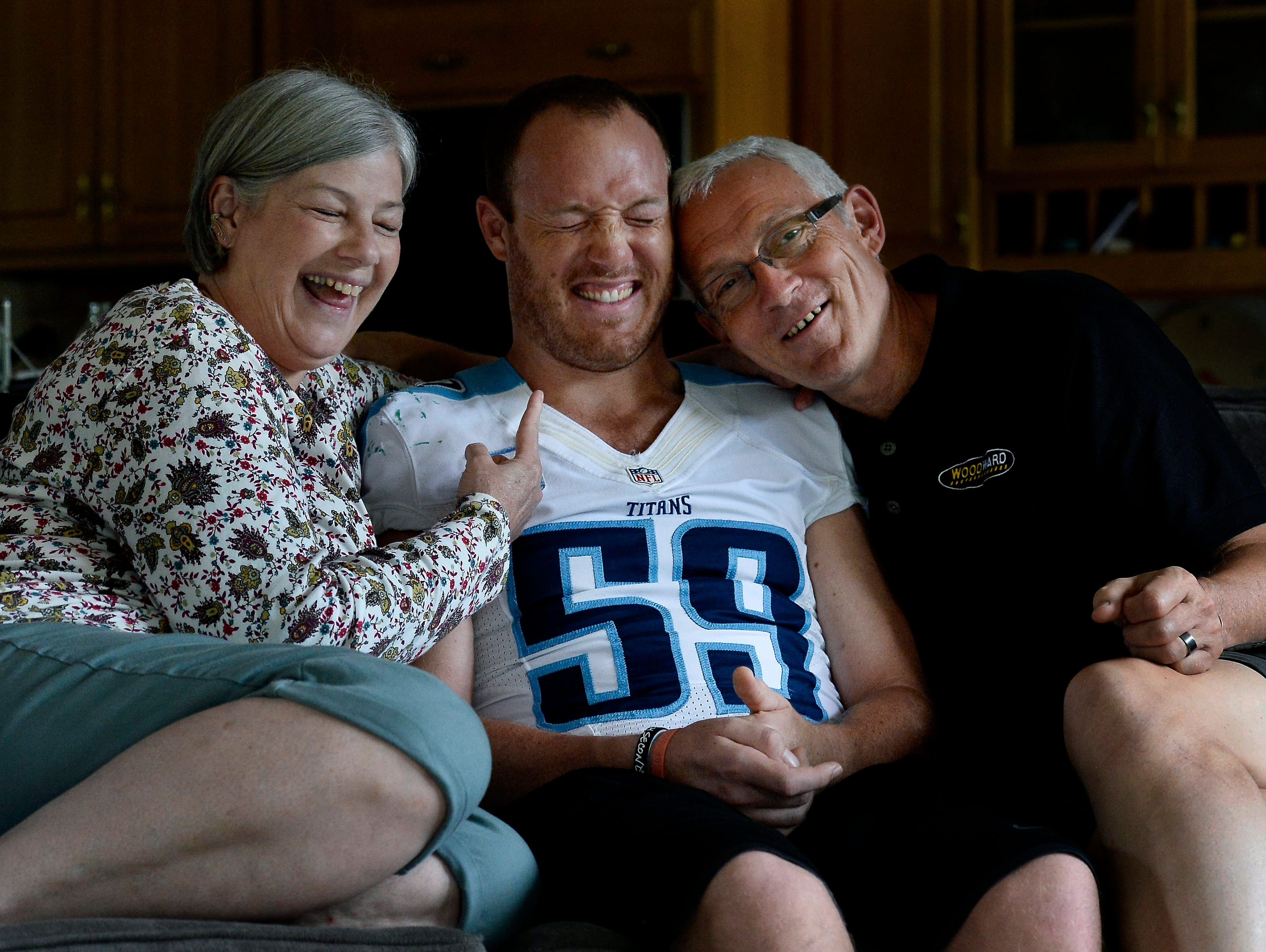 Tim Shaw jokes with his parents, Sharon and John Shaw, on Tuesday in Nashville Tenn.