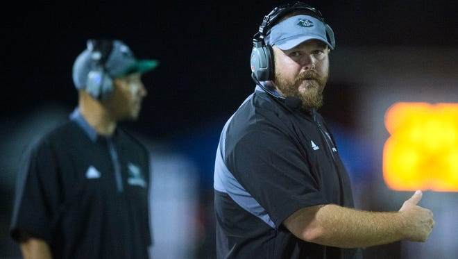 Carter head coach Derek Witt during the game against Anderson County on Thursday, August 17, 2017.