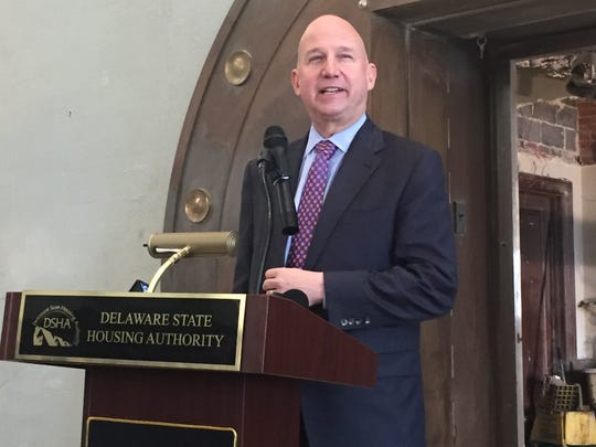 Gov. Jack Markell announces $3.6 million in Downtown Development District grants inside a former Milford bank that soon will become a new Touch of Italy restaurant.