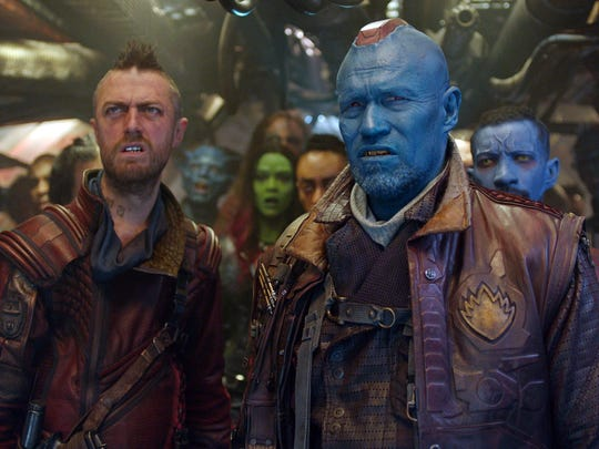 "Yondu (Michael Rooker, center), his first mate Kraglin (Sean Gunn) and the rest of the Ravagers chase after a mystical orb in ""Guardians of the Galaxy."""