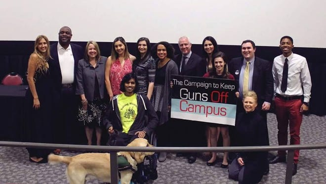 Student members of The Campaign to Keep Guns off Campus pictured here with FSUPD Chief Perry, Dr. Jennifer Proffit and Senator Jeff Clemens.