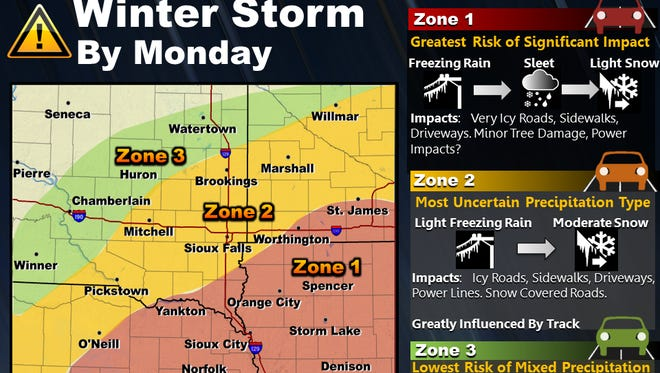 A winter storm is expected to hit the region Sunday night, with the worst of it coming Monday.