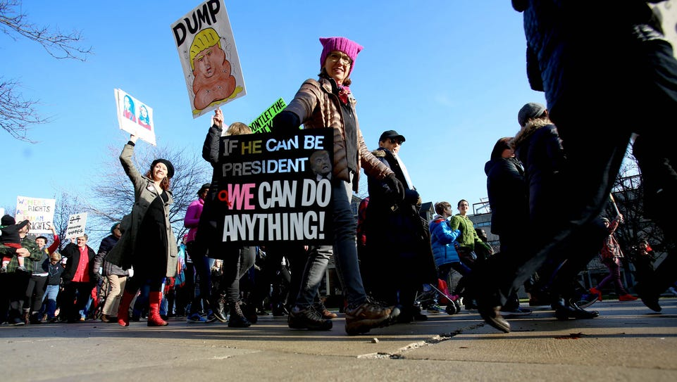 A march attracted over 4,000 people made up of women