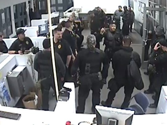 View from inside the booking station after officers