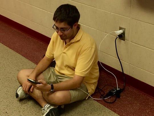 FSU PhD student Jonathan Lubin takes a moment to recharge.