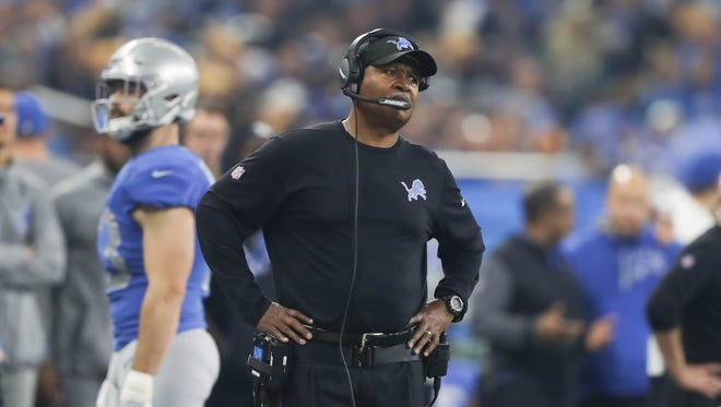 Lions coach Jim Caldwell on the sideline in the third quarter of the 30-23 loss to the Vikings at Ford Field on Thursday, Nov. 23, 2017.