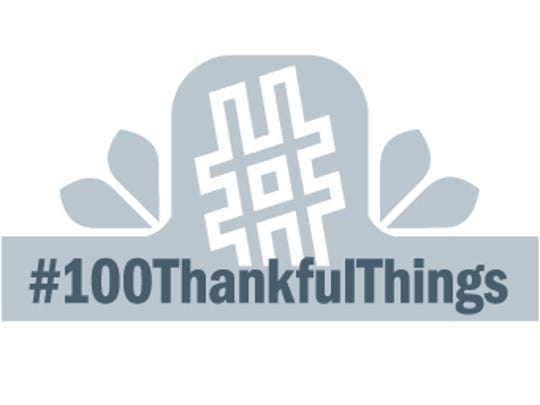 white #100ThankfulThings logo