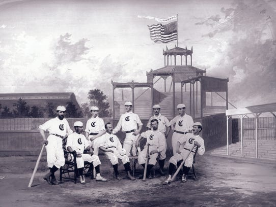 The 1868 Cincinnati Red Stockings pose for a portrait.