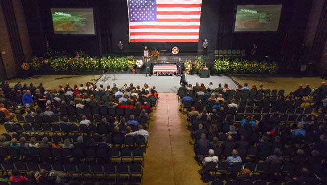 Firefighters Chris Blankenship, a 10-year veteran of the Madison Co. Fire Department, was honored during his funeral Thursday afternoon. Blankenship was a 10-year veteran of the Madison Co. Fire Department.
