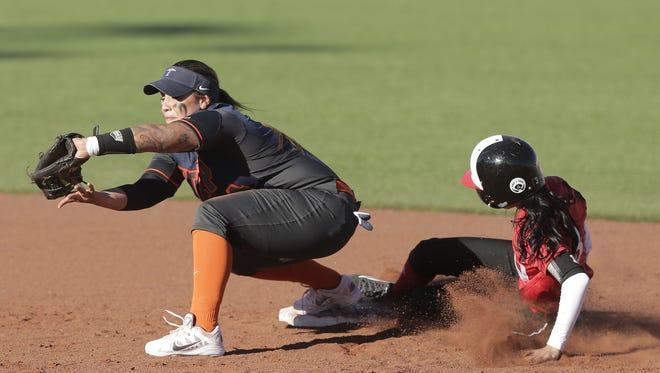 UTEP's Kiki Pepi outs Incarnate Word's Danielle Ramirez at second base Thursday.