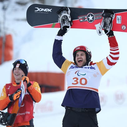 Paralympian Mike Schultz celebrates with Team USA at Washington event