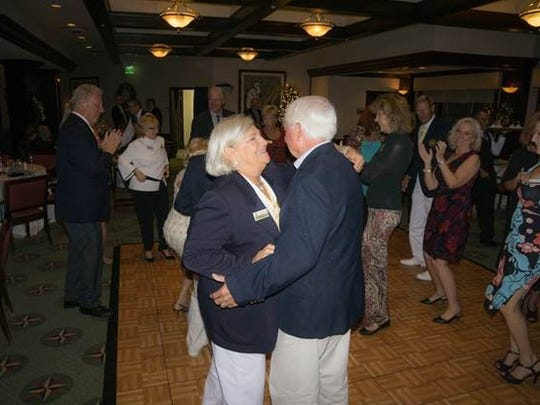In-coming Commodore Lois Dixon and husband Ed joined in the fun on the dance floor during the Yacht Club's 15th Anniversary Crystal Ball.