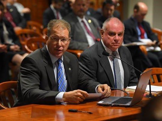 State Rep. Dan Lauwers, R-Brockway Township, left,