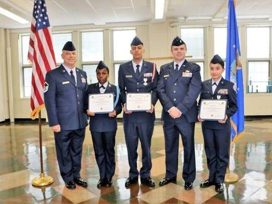 Left to right: Master Staff Sgt. James Eubanks,  Cadet